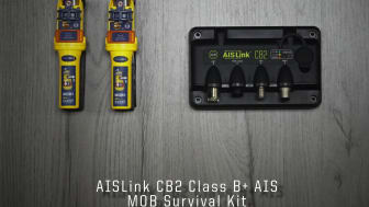 The ACR Electronics AISLink CB2 AIS kit: the AISLink CB2 Class B AIS Transponder and two Ocean Signal rescueME MOB1 man overboard beacons