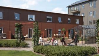 Illustration av de nya husen i BoKlok Diamanten på Bäckby, Västerås.
