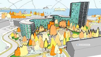 Det nya bostadskvarteret Fyren i Nynäshamn