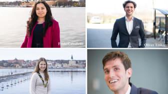 Årets Kompassrosstipendiater; Frida Caballero, Oliver Titikic, Victoria Söderlund och Omar Alshogre. Foto: Ungt Ledarskap och Privat