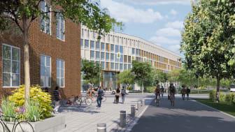 Skissen, som är en illustration över nya polishusets entré, visar hur byggnaden kan komma att se ut. Utformningen kan ändras. Detaljplanen väntas skickas på granskning på byggnadsnämnden på onsdag. Illustration: AG arkitekter.