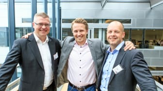 Harri Koponen (Suomen Onlineallekirjoitus), Ari-Pekka Salovaara (Visma Solutions) ja Antti Larvala (Suomen Onlineallekirjoitus)