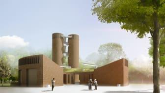 C.F.Møllers arkitekttegning over den nye Kløvermarken Pumpestation