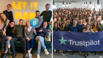 Photo: Part of the Flowbox team (left) and the Trustpilot team (right)