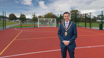 Mayor of Mid and East Antrim, Councillor Peter Johnston, pictured at the new MUGA in Cullybackey