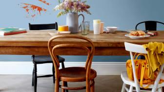 Muren geschilderd met Flexa Easycare kunnen goed schoongemaakt worden. Een tomatensaus vlek is zo weggehaald!