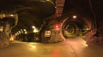 Tunnlar i Äspölaboratoriet utanför Oskarshamn, där de svenska grundvattenproverna samlades in. Foto: Christian Siebenbürgen