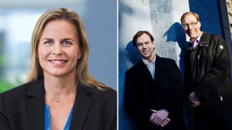 Kivras vd Anna Bäck, samt delägaren Karl-Johan Persson, som är ordförande i H&M, och Stefan Krook, delägare, grundare och ny ordförande i Kivra. Foto: Filip Erlind/Press