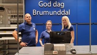 Fra venstre: Store Manager Kai Karlsen, Deputy Store Manager Maren Johnsen, Sales Assistant Emilie Marken