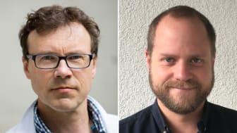 Årets Johnny Ludvigsson-pristagare Pål Njølstad (Foto: Universitetet i Bergen) och Oskar Skog  (Foto: Sanna Hellgren Nilsson)