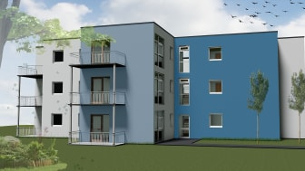 Planungsbeispiel für moderne Mikrowohnungen in Modulbauweise. Dank ihrer schnellen und sauberen Montage eignen sich modulare Raumlösungen für eine städtebauliche Nachverdichtung.