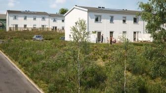 Illustration av BoKlok Sjöliden i Linköping - BoKloks första småhusprojekt med solceller på taket