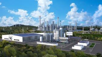 Visualisering av Liquid Winds anläggning för produktion av elektrometanol