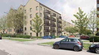 Visionsbild: Stena Fastigheter bygger fyra nya fastigheter med 135 miljöcertifierade lägenheter på västra Bellevuegården.