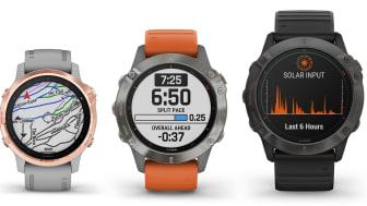 Garmin® presenterar fēnix® 6-serien Multisportklockor med större skärmar, längre batteritid, innovativa prestandafunktioner och Garmins första klocka med solteknik