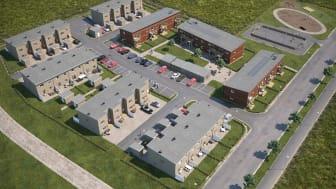 Översiktsillustration av det nya kvarteret BoKlok Fårhagen, med både radhus och lägenheter, i Holmängs Hage, Vänersborg.