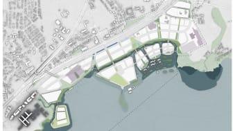 Utviklingen av Fjordbyen Lier og Drammen blir stadig mer konkretisert med øyer, kanaler og strandlinje. Senere i år skal planen sendes Lier kommunen. Illustrasjon: Link Arkitektur.