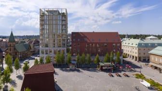 Vy över Dreem arkitekters förslag för kvarteret Brotorget Södra.