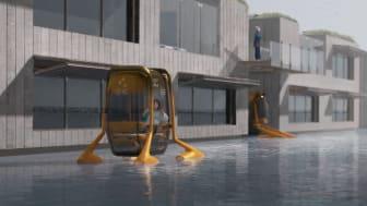 Titta in i framtiden när nästa generation designers visar upp sina visionära examensprojekt. Den självkörande taxibåten är ett av projekten. Foto: Lars Welten