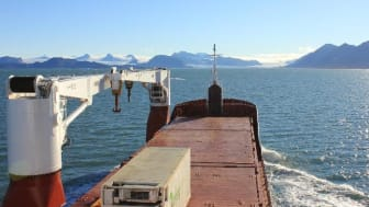 The cargo ship MS Norbjørn operates on the world's northernmost cargo route between Tromsø and Longyearbyen on Spitsbergen in the Svalbard archipelago. The ship calls at Ny-Ålesund on half of its crossings from Tromsø. (Photo: Marit Norli, NIVA)