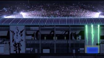 KORTREIST STRØM: Sollenergi skal gi strøm til flomlysene på Skagerak Arena (Illustrasjon: Skagerak Energi)