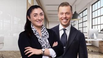 Sepide Hariri och John Nordin har precis anslutit till Colliers Leasing-team.