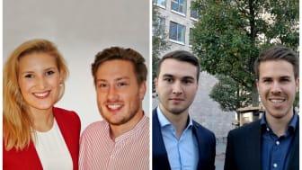 HdWM-Team (v.li.): Tina Dingeldein, Jonas Herzinger, Pascal Blaumeiser, Timo Grünzinger. Nicht auf dem Foto: Viktoria Felder, Julian Schmitt, Marco LaRussa, Prof. Dr. Hans Rüdiger Kaufmann.