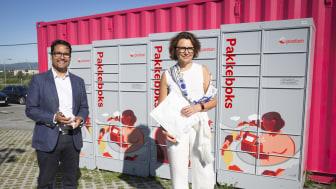 Konsernsjefene Daniel Kjørberg Siraj i OBOS og Tone Wille i Posten ser fram til samarbeidet om å plassere ut pakkebokser,
