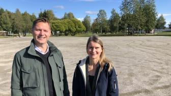 Mattias Lundström, Vd HSB Norr och Maria Adlers, Vd PiteBo på Norrstrand i Piteå.