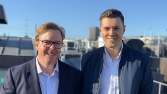 Karl Samuelsson, vd på Bumbee Labs och Adam Boström, product manager för IoT på Tre Sverige.