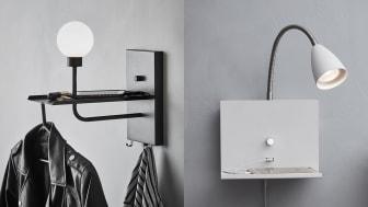Vägglamporna laddar dina USB-enheter och skapar praktisk förvaring