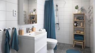 Illustration av interiör, badrum nedanvåning, BoKlok småhus, 2021.
