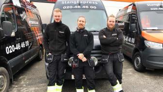 Hydroscands servicetekniker Elias Wennerstrand, Svante Flodin och Eddie Holmkvist.