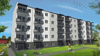Tidig visionsbild över 5-vånings flerbostadshus som Egnahemsbolaget och polska Unibep bygger på Saffransgatan i Gårdsten. Bild: Unibep S.A