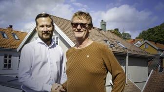 Stian Martinsen i Trainor og Rolf Kinck i IKM Instrutek vil samarbeide for å bedre sikkerhet på arbeidsplassen.
