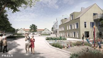 Stora torget i Mellbystrands nya centrum, med Strandhotellet i fonden. Illustration: FOJAB