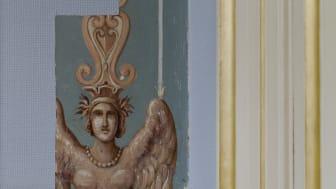 Del av dekormålning i  vita salongen