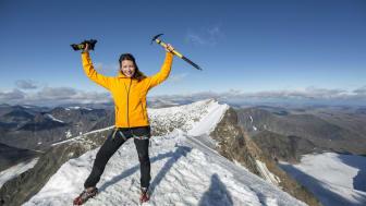Renata Chlumska, svensk äventyrare, bergsbestigare och föreläsare på toppen av Kebnekaise