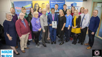 Council leader Rishi Shori (centre) with Phil and Debi Fellone of Made in Bury and the Academy group.