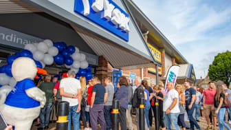 Queueing customers enter NEW JYSK Wakefield Store