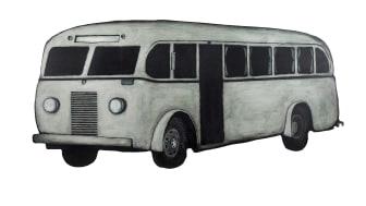 """Pressbild för """"Den vita bussen"""" av Jan Håfström"""