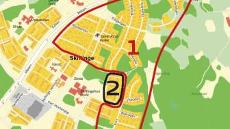 Kartan visar de två områden där fjärrvärmen stängs av.