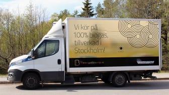 """Widrikssons kampanjbil under temaveckan """"Guld för Sverige""""."""
