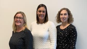 Från vänster, Hanna Smith, Caroline Andersson och Marie Andersson är projektledare för Sjöbos projekt