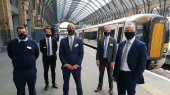 Celebrating at King's Cross with Rail Minister Chris Heaton-Harris