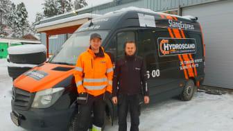 Hydroscands servicetekniker Patrik Caldersparr och platschef Patrik Andersson.