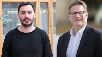 Postdoktor Daniel Skog och professor Jonny Holmström på SCDI AI Business Lab vid Umeå universitet. Bildkollage: Jessica Larsson Svanlund och Mattias Pettersson