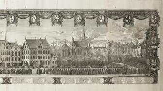 Kopparstick med motiv från Karl X Gustavs begravningståg den 4 november 1660, graverat av Jean Le Pautre efter teckning av Erk Dahlberg. Wikimedia Commons by Livrustkammaren