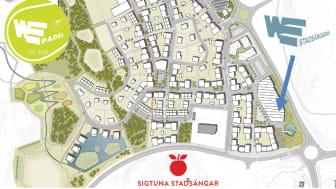 Kartan visar var padelhallen kommer att ligga i förhållande till stadsdelen och det kommande gymmet WE Stadsängarna