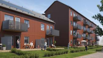 Illustration av de nya lägenhetshusen i BoKlok Amazonen, Hälsinggården, Falun.